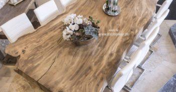Massiver Esstisch aus einem Baumstamm